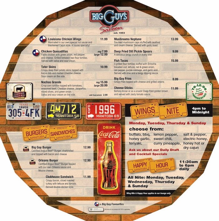 bar menu round placemat