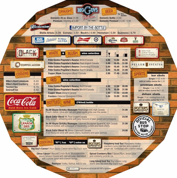 bar menu 1 placemat